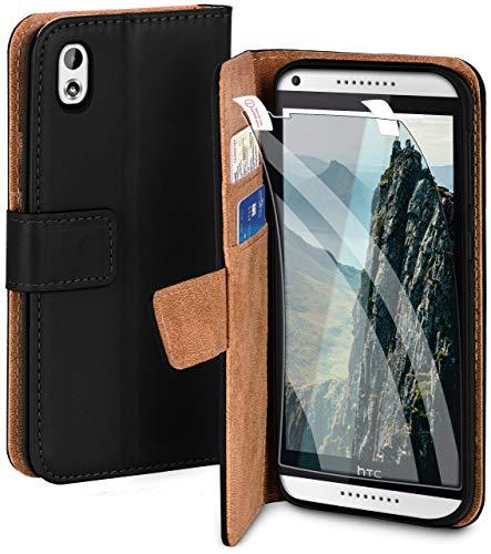 moex Handyhülle für HTC Desire 816 - Hülle mit Kartenfach, Geldfach & Ständer, Klapphülle, PU Leder Book Hülle & Schutzfolie - Schwarz