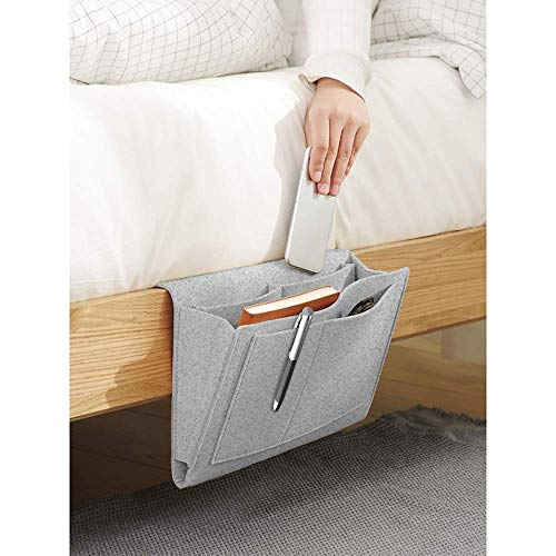 Filz Bettablage Organizer,Felt Bedside Caddy Storage Bag,Einhängen Nachttisch Tasche Sofa-Bett Hängeaufbewahrung für Buch, Magazin, Spielzeug, Handy. (deepgrau, M(32 * 24 * 8cm))