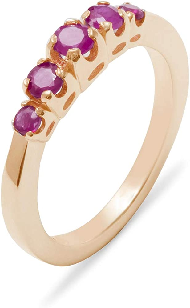 Solid 14k Rose Gold Natural Ruby Womens band Ring - Sizes 4 to 12 Available