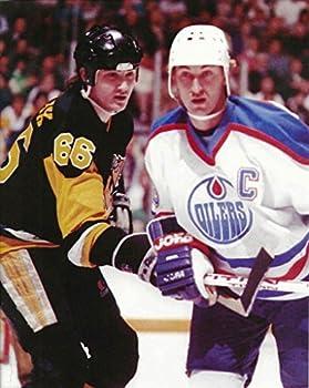 NHL Collectibles Hockey Wayne Gretzky & Mario Lemieux battling for a Puck - 11 x14  Photo