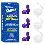 Mack's AquaBlock Swimming Earplugs, 3 Pair - Comfortable, Waterproof, Reusable Silicone Ear Plugs for Swimming, Snorkeling, Showering, Surfing and Bathing (Purple)