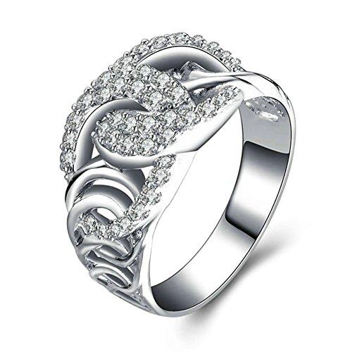 Beydodo Anelli Fidanzamento Argento 925 Anello Matrimonio Diamante Anello Vuoto con Rotonda Brillante Diamante Taglia 10-27