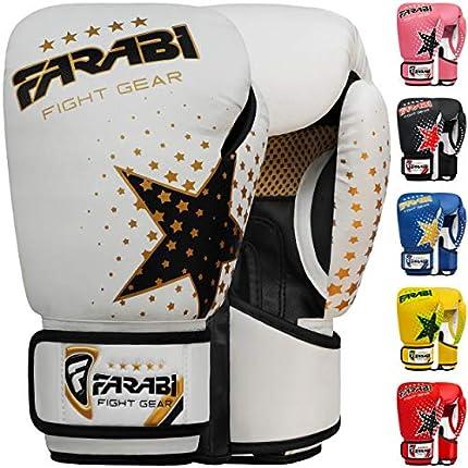 Farabi - guantes de boxeo para niños de 6 oz, guantes de entrenamiento de kickboxing muay thai para entrenamiento de MMA, los mejores guantes para entrenar en saco de boxeo, almohadillas de enfoque para práctica (White, 6-oz)