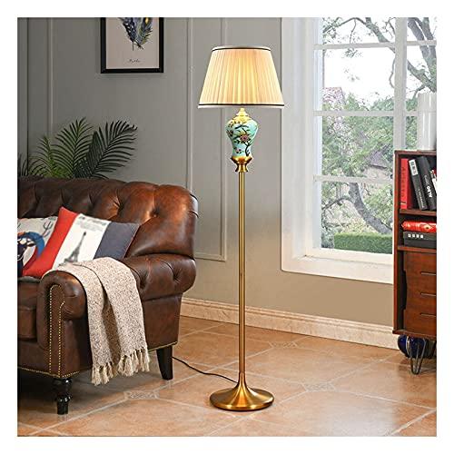 XGJJ Lámpara de pie, lámpara de pie con pantalla de tela, lámpara de pie rústica, lámparas de pie altas para sala de estar, dormitorio, oficina (interruptor de pie, A)