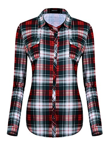 Urban GoCo Donna Classica Bottone Camicia Blusa a Quadri Camicetta a Lunga Manica (2XL, 6)