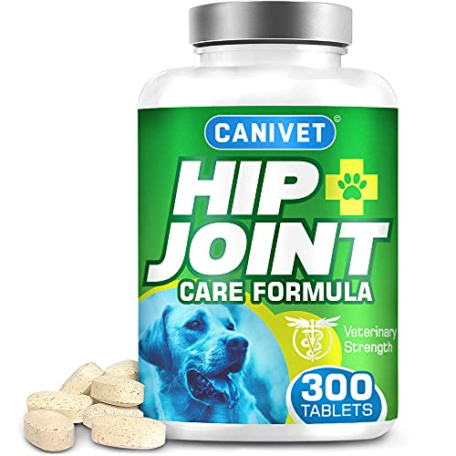 CANIMED Dog Joint Care Supplements | 300 Tablets | With Green Lipped Mussel, Glucosamine & Chondroitin, Turmeric, MSM, Hyaluronic Acid, Manganese and Vitamins for dog joint care. Aids stiff joints.