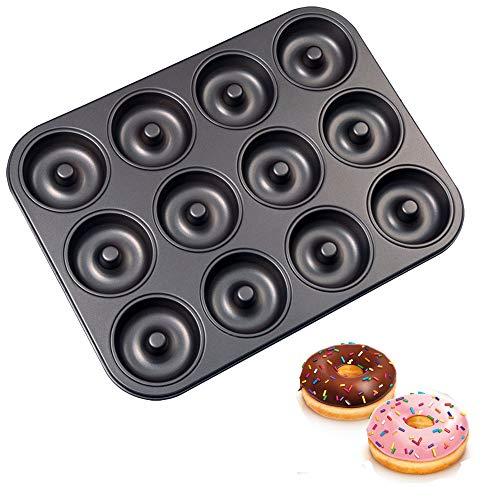 Old Tjikko Donuts Backform,12 Vertiefungen Donutform,Backblech mit Antihaftbeschichtung (12er 02)