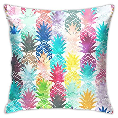 WH-CLA Pillow Cover Hawaiian Tropical Pineapple Cremallera Cuadrada 45X45Cm Impreso Sala De Estar Sofá Funda De Almohada Cuadrada Funda De Cojín Duradera Funda De Almohada Decorativa Par