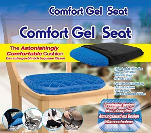 Comfort Gel Seat – El cojín más Confortable para automóviles, Aire Libre, oficinas, sillas de Ruedas y hogar– Ayuda para el Dolor de coxis, Dolor de Espalda, Dolor Lumbar y Problemas de ciática
