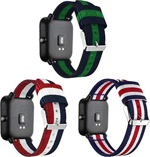 Chainfo Correa de Reloj de NATO Nailon Compatible con Galaxy Watch 42mm / Watch 3 41mm / Active, Mujer y Hombre, Hebilla de Acero Inoxidable (20mm, 3PCS B)