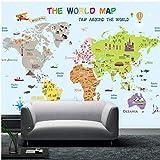 Papel Pintado,Papel Tapiz Mural 4D Personalizado,Creative Cartoon Mapa Del Mundo La Pintura De La Pared De Fondo Sofá Tv Wall Papers Hd Imprimir Imagen De Póster De Arte Para Niños Kid Dormitorio