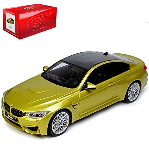 B-M-W M4 4er F32 Coupe Gelb Competition Package Ab 2013 Nr 164 1/18 GT Spirit Modell Auto mit individiuellem Wunschkennzeichen