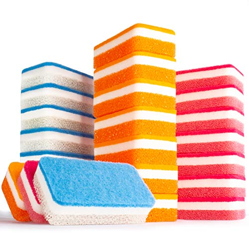 Kitsure Sponges for Cleaning, 24 Pack Non-Scratch Dish Sponges & Scrub Sponges for Effortless Cleaning of Tableware, Utensils and Water Channel All at Once, Size: 4.9'x2.6'x1.2'