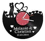 'Tocadiscos Reloj 'Ach Du Amor Tiempo con nombre y fecha para tu favoritos humanos regalo de San Valentín aniversario de bodas