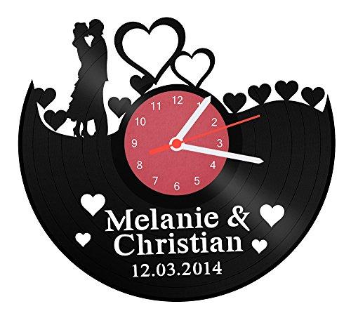 Schallplattenuhr - Ach Du Liebe Zeit - mit Namen & Datum für Deinen Lieblingsmensch Geschenk zum Valentinstag Verlobung Jahrestag - Persönliche Wanduhr mit Namensgravur