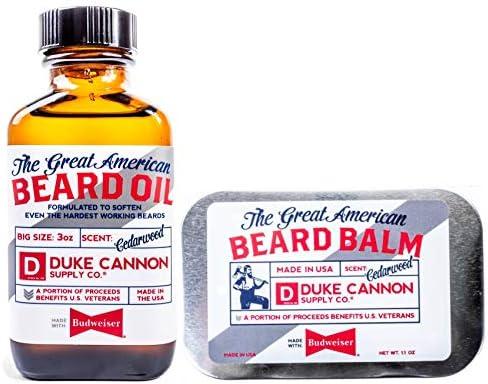 Duke Cannon Supply Co Great American Beard Bundle Beard Oil 3oz Beard Balm Net Wt 1 1 oz Made product image