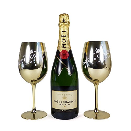 75cl Moet & Chandon Brut Imperial Champagne and 2 Golden Goblets - Ideas for Mum, Valentines, Mothers Day, Birthday, Wedding, Anniversary, Couples, Business and Corporate