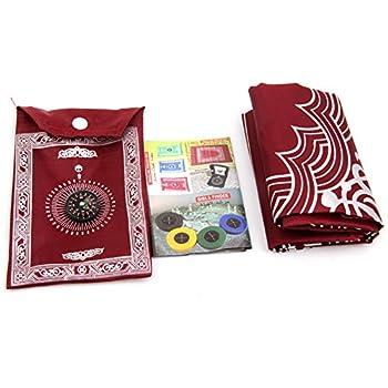 SADA72 Tapis de prière musulman avec boussole, sac de transport et boussole attaché tapis de prière en nylon imperméable facile (rouge)