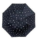 [チューカー] レディース 晴雨兼用傘 パラソル 折りたたみ傘 8本骨 日よけ傘 三つ折り UVカット 遮光断热 手動タイプ ブラックF