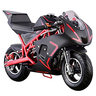 Superrio New Gas Mini Pocket Bike Motorcycle 40cc 4-Stroke Engine (Red) by Superrio
