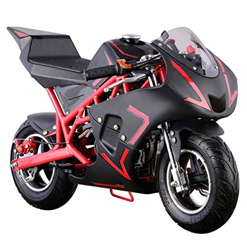 Superrio New Gas Mini Pocket Bike Motorcycle 40cc 4-Stroke Engine (Red)