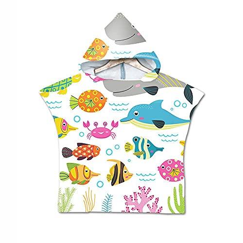 Aeromdale Toalla de playa con capucha cambiante toalla de mar animal patrón niño surf natación traje Raincap talla única toalla de viaje unisex parte D - # C - 1 pieza
