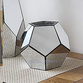 Decorazione della Sala da Pranzo Fiore Artificiale per Vaso di Vetro casa Moderna Soggiorno scrivania Decorazione Floreale Accessori Ornamenti Decorativi,A SMAQZ Vaso di Vetro a Specchio Geometrico