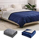 """C'est Stunnie Weighted Blanket & Removable Cover 15 pounds 60""""X80"""" for Kids Adults, Cotton with Premium Glass Beads,for 140-190 lbs Individuals, Cooling Weighted Blanket for Restful Sleep, Dark Grey"""