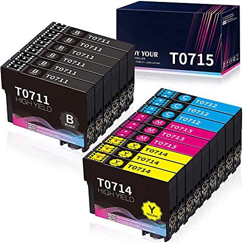 Hicorch Cartuccia T0715 Multipack Compatibile con Epson T0711 T0712 T0713 T0714 per Epson Stylus SX100 SX110 SX200 SX210 SX215 SX218 SX400 SX405 SX410 SX510w DX4000 DX4400 DX7400 DX8400 DX9400F