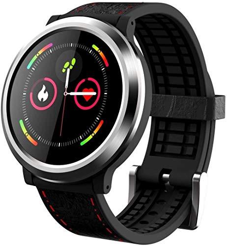 Reloj inteligente con pantalla de 1,3 pulgadas, monitor de actividad física, podómetro, pulsera IP67, impermeable, mensaje push inteligente, recordatorio 200 mAh, Android/iOS, color negro