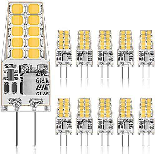 GLIME G4 LED Lampen 3.5W 400LM LED Birnen Ersatz für 30W Halogenlampen 3000K Warmweiß 20 LED Leuchtmittel 12V AC/DC Kein Flackern Nicht Dimmbar 360°Abstrahlwinkel LED Glühbirne 10er Pack