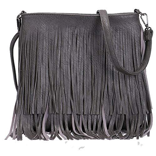 KIKFIT Donna Design Stile Nappa Frangia Borsa a Tracolla Similpelle Messenger Borsa - Grigio scuro