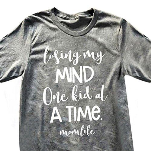 ZJP Women Short Sleeve Round Neck MOM Life Letter Print Casual T-shirt Tee Shirt