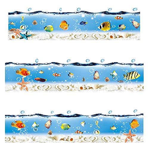 WandSticker4U- Fliesenaufkleber Unterwasserwelt blau I Länge 2.6 M I Badewanne Bordüre Wandtattoo Wand-aufkleber Folie Ozean Meer Seestern Fische Muscheln I Deko für Badezimmer Kinder
