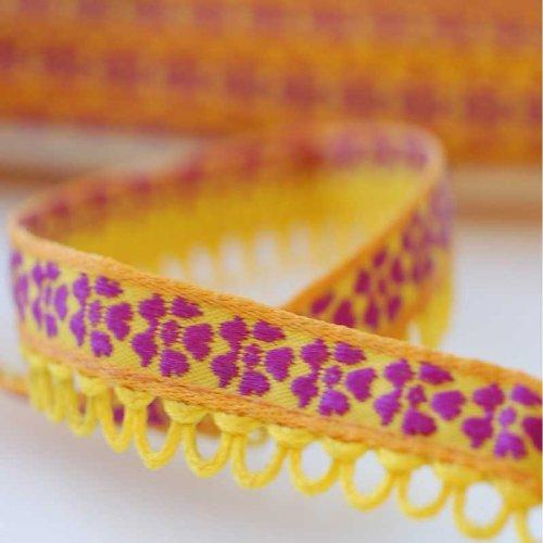 Neotrims Ruban aux bords dentelés pour décoration vêtements/artisanat Motif floral art nouveau/jacquard Largeur 1,2 cm