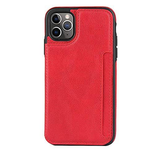 FAWUMAN Hülle für iPhone 11 Pro Max(6.5 inch), Premium PU Klapphülle Brieftasche Kartenfächer Handyhülle Stylish Flip Case mit Standfunktion und Magnetverschluss Ledertasche-Rot
