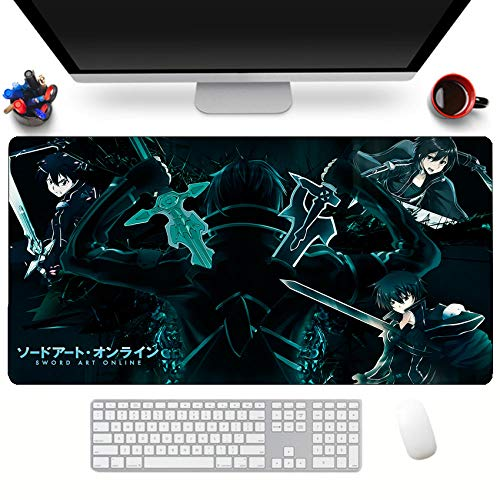 Alfombrillas de ratón Oficina Alfombrilla De Ratón Tapete De Computadora Anime Sword Art Online Bordes Cosidos Antideslizante Espesar 700 Mm * 300 Mm * 3 Mm
