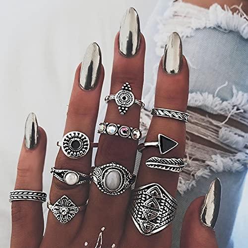 Yheakne Boho - Juego de anillos vintage con nudillos de piedra lunar de plata - Anillos midi con brillantes apilables - Anillos de mano de moda para mujeres y niñas (modelo 1)