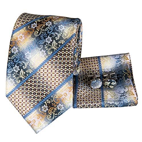 GPZFLGYN Corbatas amarillas para hombre Corbata de rayas de seda floral Vestidos formales negros Corbata de hombre Regalos para hombres Boda de negocios
