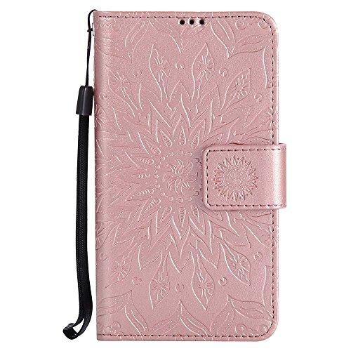 Lumia 635 Hülle, Lumia 630 Hülle, Dfly Premium Slim PU Leder Mandala Blume Prägung Muster Flip Hülle Bookstyle Stand Slot Schutzhülle Tasche Wallet Case für Nokia Lumia 635 / 630, Rosen-Gold