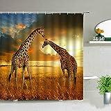 ZZYJKSD Elefant Zebra Tiger Leopard wasserdichte Stoff Duschvorhänge Afrika Tiere Bedruckte Badezimmer Gardinen Badewanne Dekor Mit Haken - 180X230CM