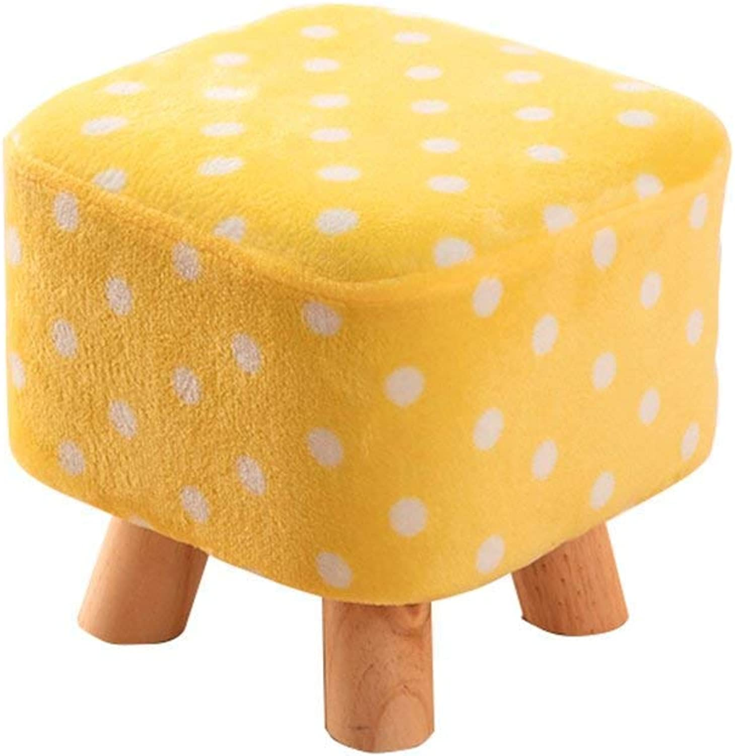 Ronggoutrade Chair-Solid Wood Stool shoes shoes Fashion shoes Stool Stool Fabric Stool Sofa Stool Home Coffee Table Bench Home Convenient (color   Yellow)