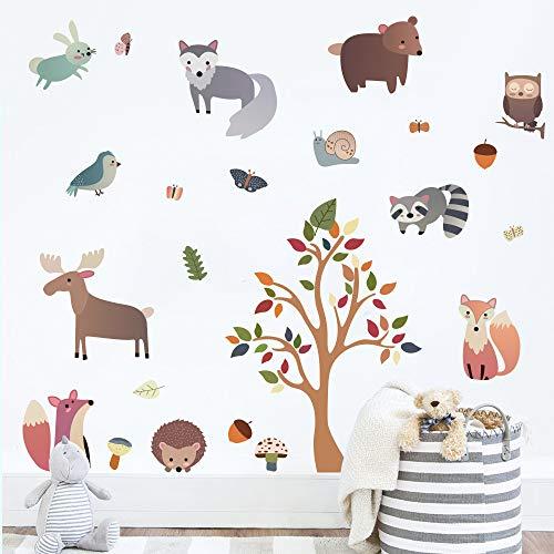 decalmile Pegatinas de Pared Animales del Bosque Vinilos Decorativos Árbol Ciervo Zorro Adhesivos Pared Habitación Infantiles Niños Bebés Guardería Salón