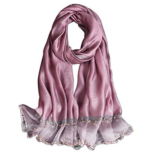 LumiSyne Primavera Nuovo Stile Sciarpa In Chiffon Di Seta Donne Elegante Sciarpa Tinta Unita Moda Tulle Cuciture In Seta Decorazione Di Perline Stole Lungo Scialle Di Protezione Solare