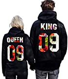 Pxmoda King Queen Couple Hoodies Hooded Sweatshirt Pullover (XL, Black-King)