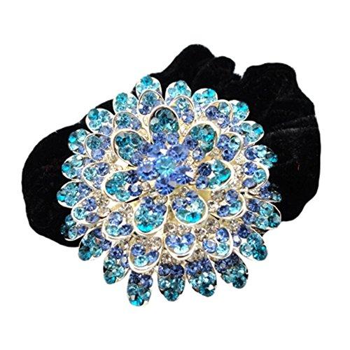 Mesdames Coiffe Elastics cheveux Cravates Romantique Rhinestone Band Hair Bleu