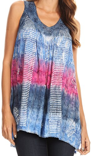 Sakkas 17525 - Renee Dip Dye Floral Print Tank with Sequins and Embroidery - Navy/Pink - OS