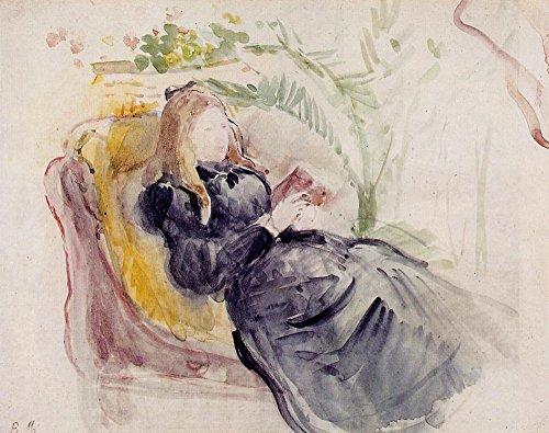 Das Museum Outlet–Julie Manet, Lesen in einer Recamiere–1890–Leinwand Print Online kaufen (101,6x 127cm)