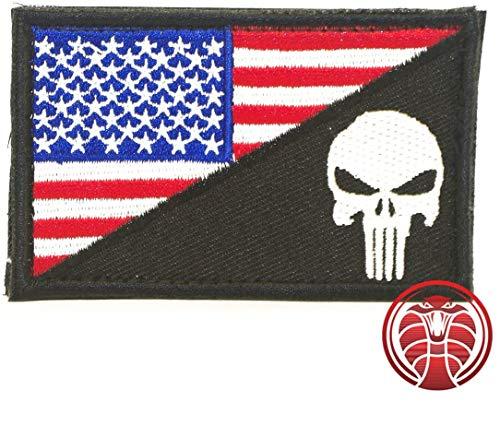 Cobra Tactical Solutions Punisher Castigador Skull Badge Bandera de USA Parche PVC Táctico Moral Militar con Cinta adherente de Airsoft Paintball para Ropa de Mochila Táctica (Negro/Blanco)