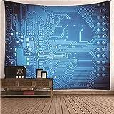 Beydodo Tapiz Pared Decoracion Patrón de Geométrico Azul,Tapiz Tela Hippie Poliéster Tamaño 150X130CM